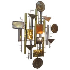 Abstract Brutalist Metal Wall Sculpture in the Style of C. Jere