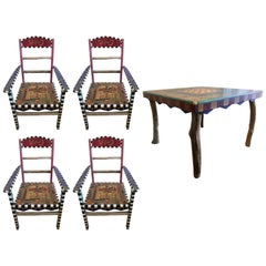 Wonderful Sticks Hand-Carved Painted Dining Game Table Set of Four Chairs