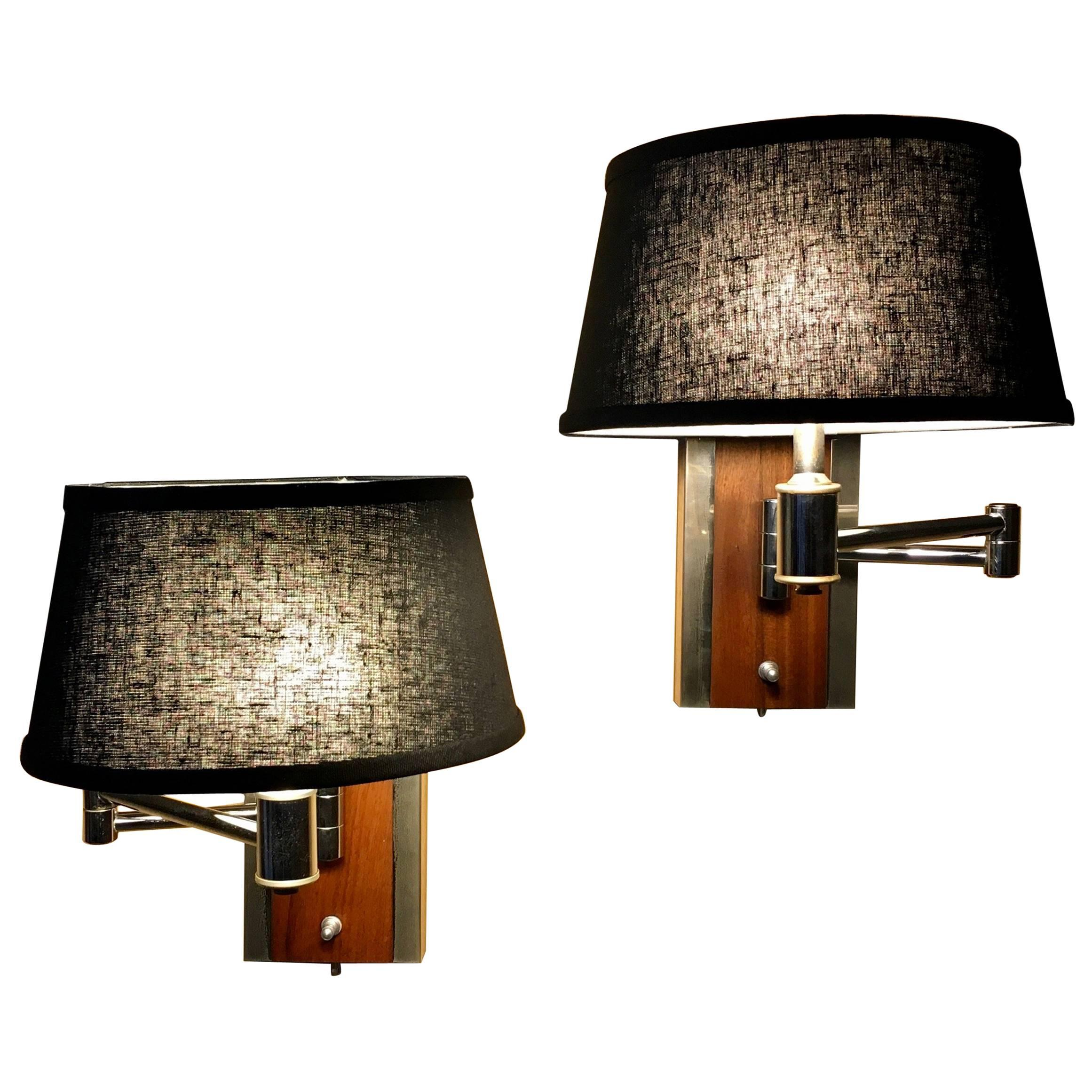 Pair of Walnut and Chrome Articulated Sconces