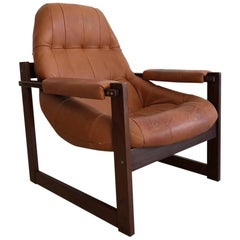 1970s Percival Lafer Brazilian Rosewood and Leather Armchair