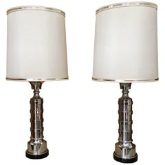 Pair of Chrome Machine Age Table Lamps
