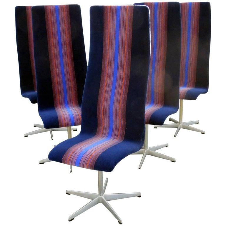 Set of Six Upholstered Arne Jacobsen for Fritz Hansen High Back Chairs