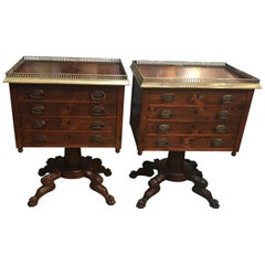 Pair of Custom Cabinet Maker Rosewood Commode Chests Side Tables