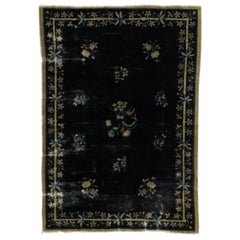 Distressed Antique Chinese Peking Rug with Jazz Age Chinoiserie Style