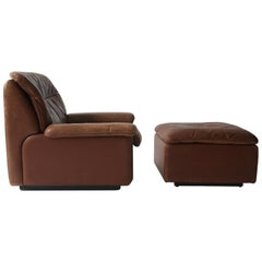 Brown Leather De Sede Switzerland Lounge Chair and Ottoman