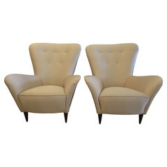 Pair Italian Modern Upholstered Armchairs, Paolo Buffa, 1950's