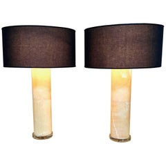 Large Pair of Alabaster Column Lamps