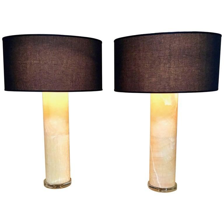 Large Pair of Alabaster Column Lamps