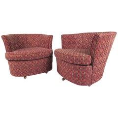 Pair of Vintage Modern Swivel Club Chairs