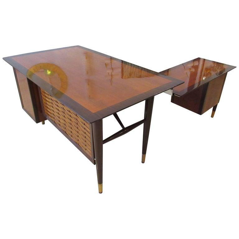 American Modern Walnut & Mahogany Executive Desk with Return, Alma Desk Company