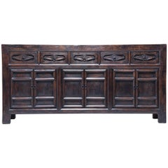 19th Century Chinese Square Corner Coffer with Botanical Drawers
