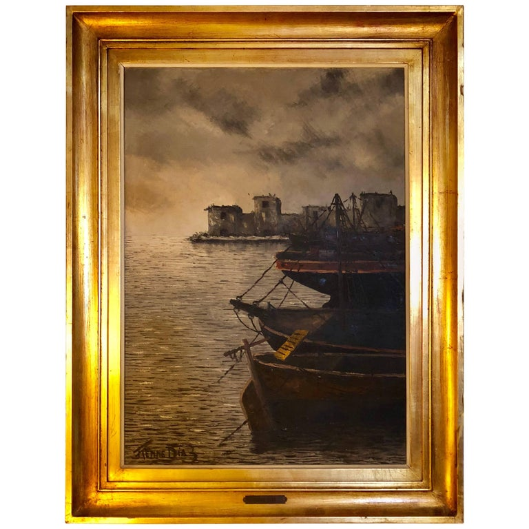 Oil Canvas in Fine Gilt Frame by Renne Diaz of Boats in the Harbor