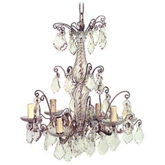 French Louis XV Style Bronze and Crystal Six-Scroll Arm Chandelier