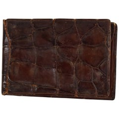 Antique Italian Wallet Crocodile Leather Hermes Style, 1950s