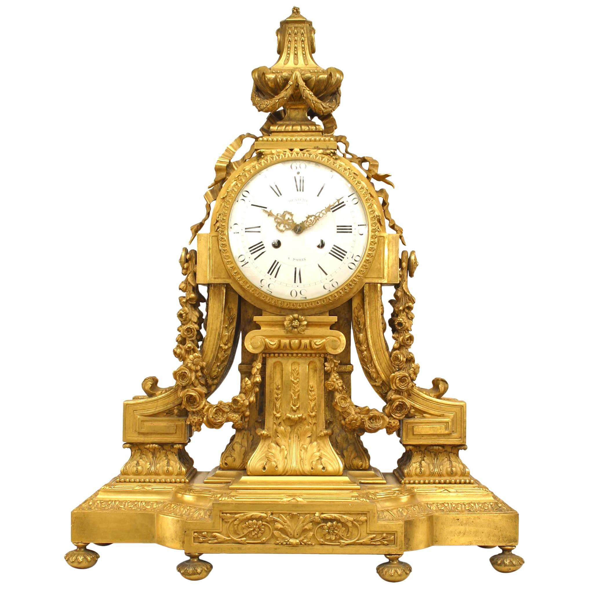 French Louis XVI Style 19th Century Gilt Bronze Mantle Clock