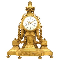 French Louis XVI Style 19th Century Gilt Bronze Mantle Clock