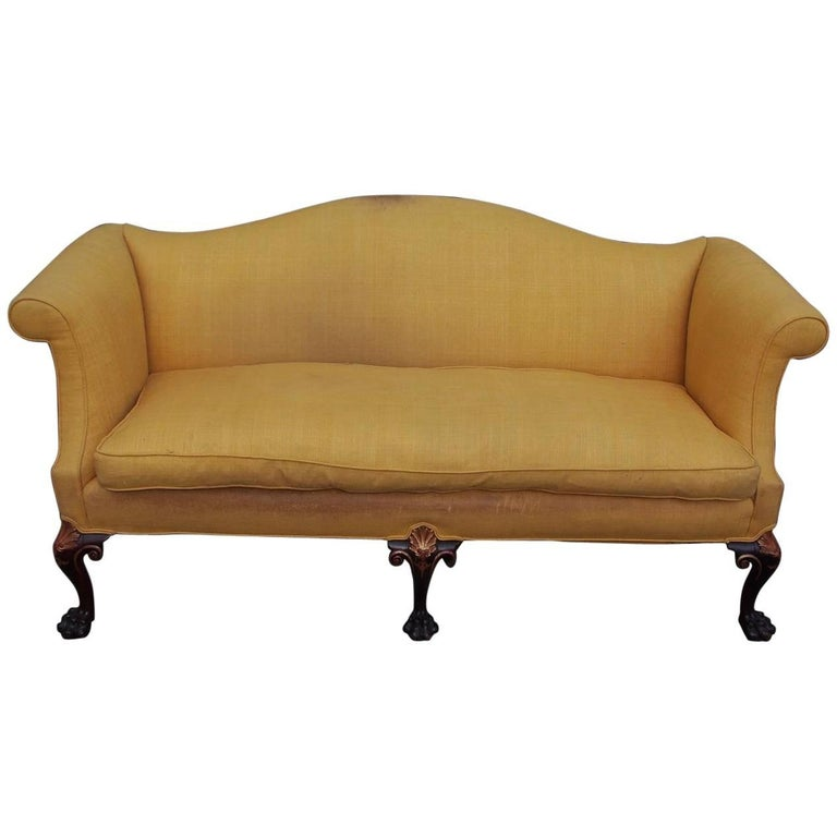 English Chippendale Mahogany Serpentine Gilt and Upholstered Sofa, Circa 1760