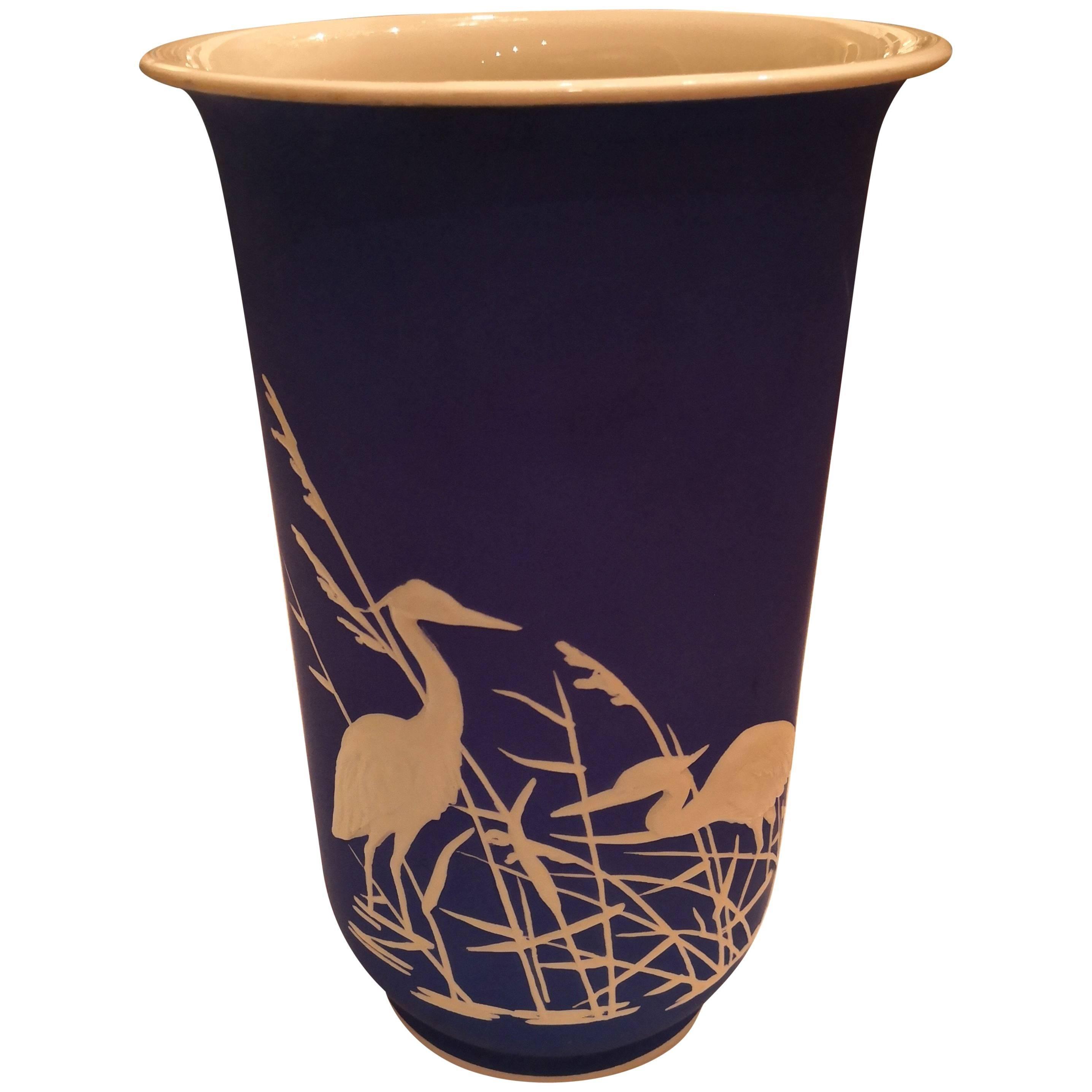 Mid-Century Modern German Rosenthal Porcelain Vase in Blue