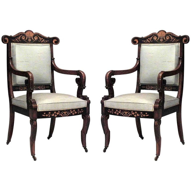 Pair of French Charles X Style Rosewood and Inlaid Armchairs
