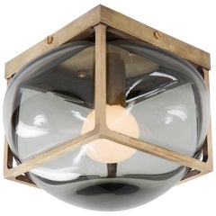 Bulle Light with Handblown Glass in Solid Brass Sconce, Flush or Table Fixture