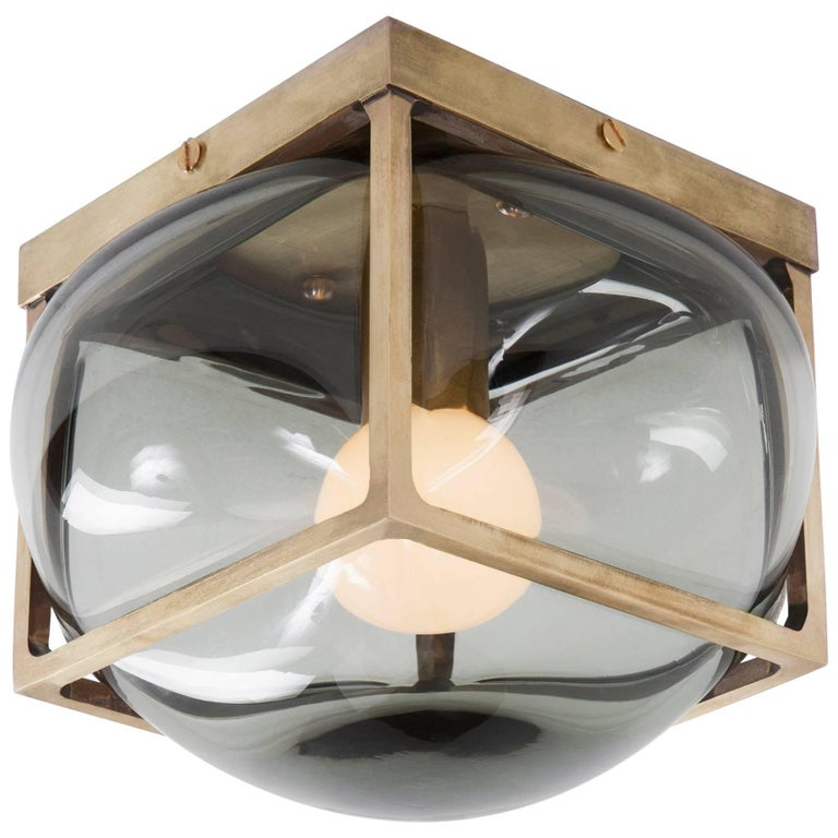 Bulle Light Lg w/ Handblown Glass in Solid Brass Sconce Flush or Table Fixture