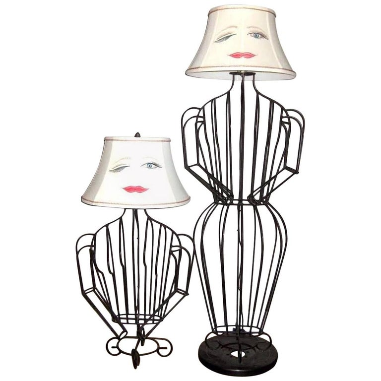 John risley black steel rod sculptural female form table lamp and john risley black steel rod sculptural female form table lamp and floor lamp set for sale aloadofball Image collections