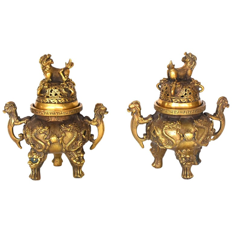 Pair of Brass Dragon Incense Burners