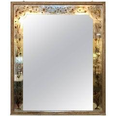 Hollywood Regency Painted Frame Having an Églomisé Mirror Manner Jansen