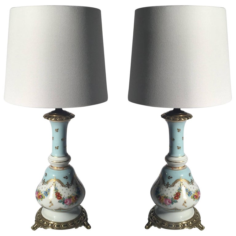 Pair of French Porcelain Hand-Painted Oil Lamps Now Electrified