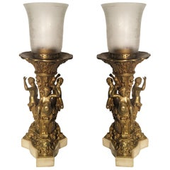 Exceptional Figural Gilt Bronze Lamps, circa 1890s