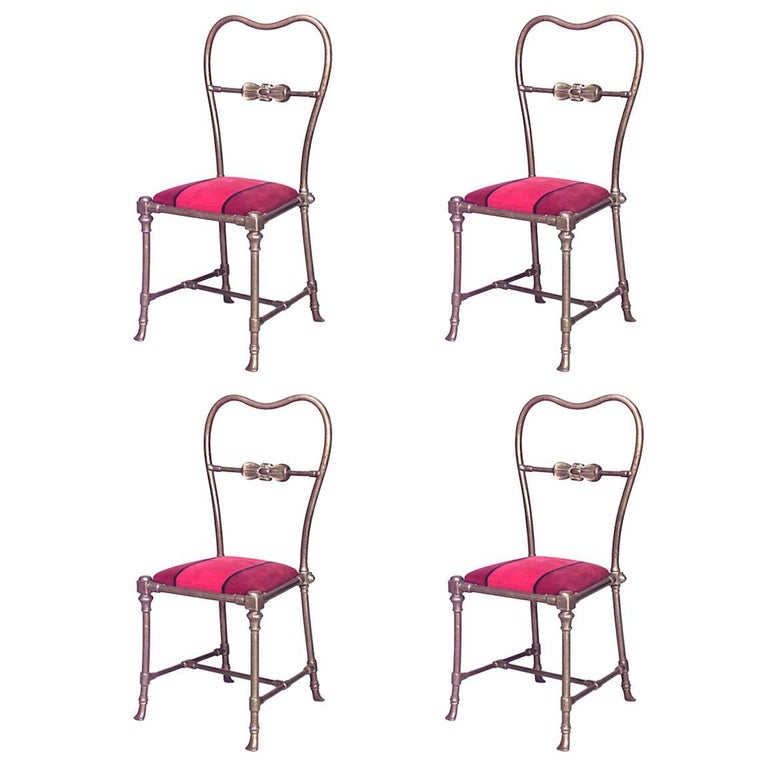Set of Four Outdoor French Victorian Brass Open Back Side Chairs
