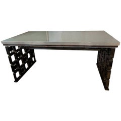 21th Century Contemporary Made in Italy Design Grey Walnut Borsani Style Desk