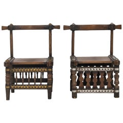 West African Carved Wood Chairs