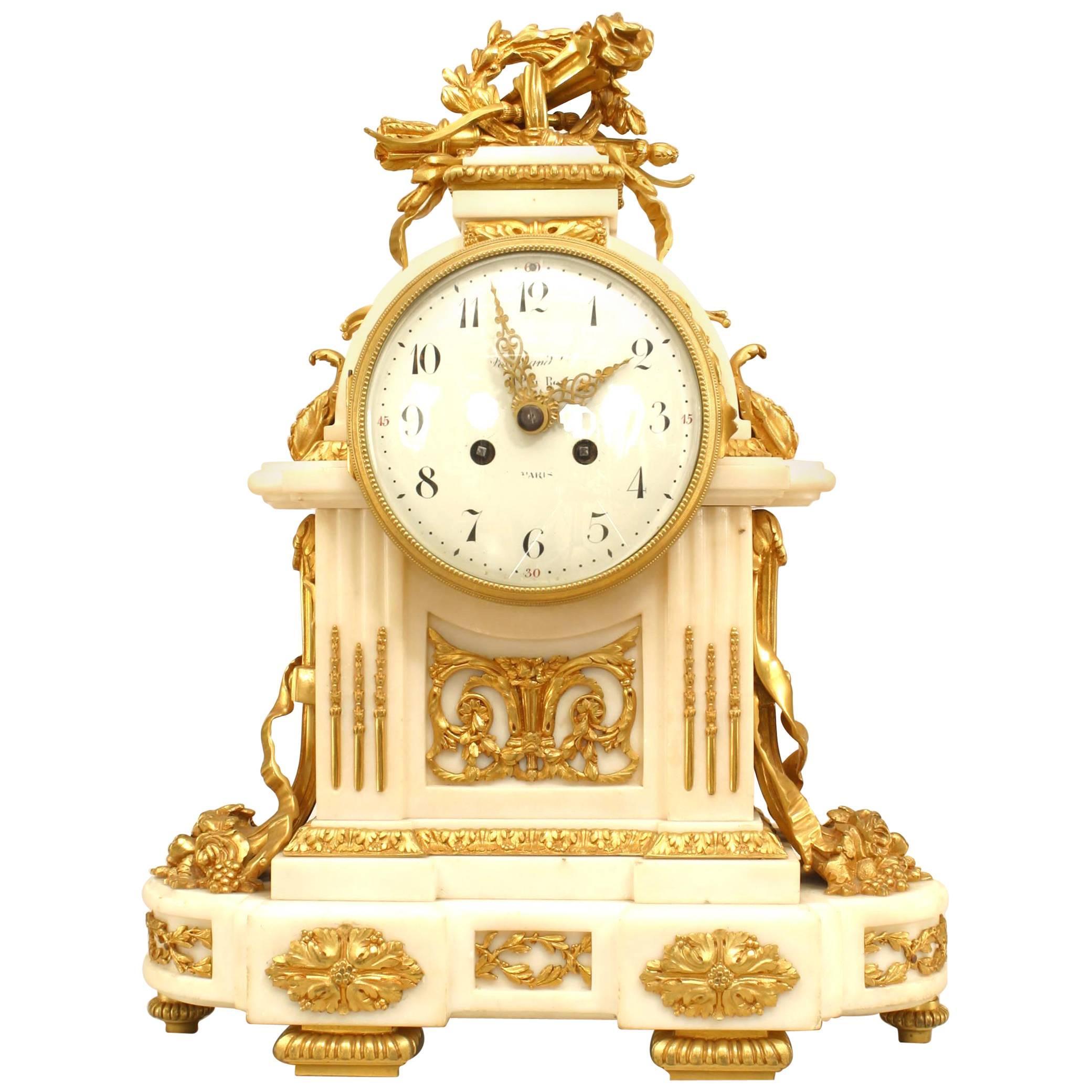 French Louis XVI Marble & Bronze Mantle Clock