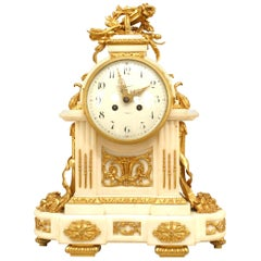 French Louis XVI Style '19th Century' White Marble Mantle Clock