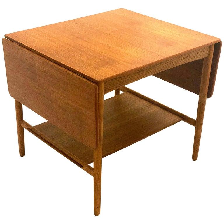 Rare Hans Wegner Teak and Oak Drop-Leaf Table by Andreas Tuck