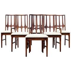 Mid-Century Modern Niemeyer Broyhill Brasilia Set Six Dining Chairs Side Arm