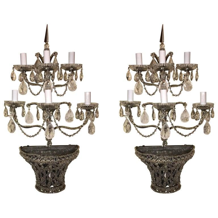 Pair of Vintage Beaded Swag Rock Crystal Lattice Basket Seven-Light Sconces