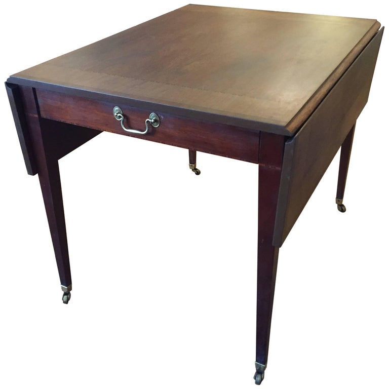 Handsome Mahogany Inlaid Drop-Leaf Table by Baker