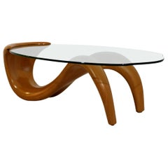 Mid-Century Modern Bentwood Glass Biomorphic Organic Shaped Coffee Table, 1970s