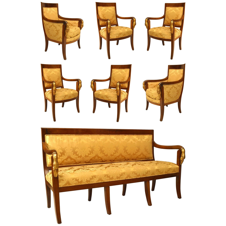 19th Century French Empire Style Seven-Piece Salon Set
