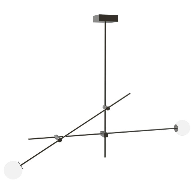 Tempo Small Chandelier in Blackened Brass with Handblown Glass Globes
