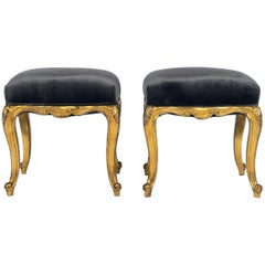 Pair of 19th Century Louis XV Style Giltwood Stools