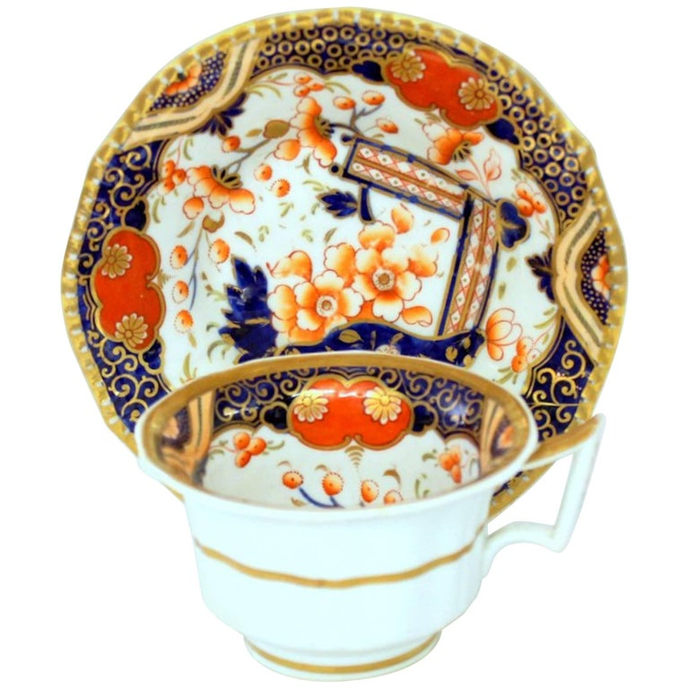 English 19th Century Machin & Baggaley Porcelain Hand-Painted Imari Cup & Saucer