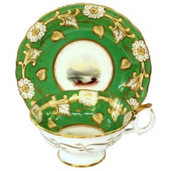 English 19th Century Samuel Alcock Hand-Painted Porcelain Scenic Cup and Saucer