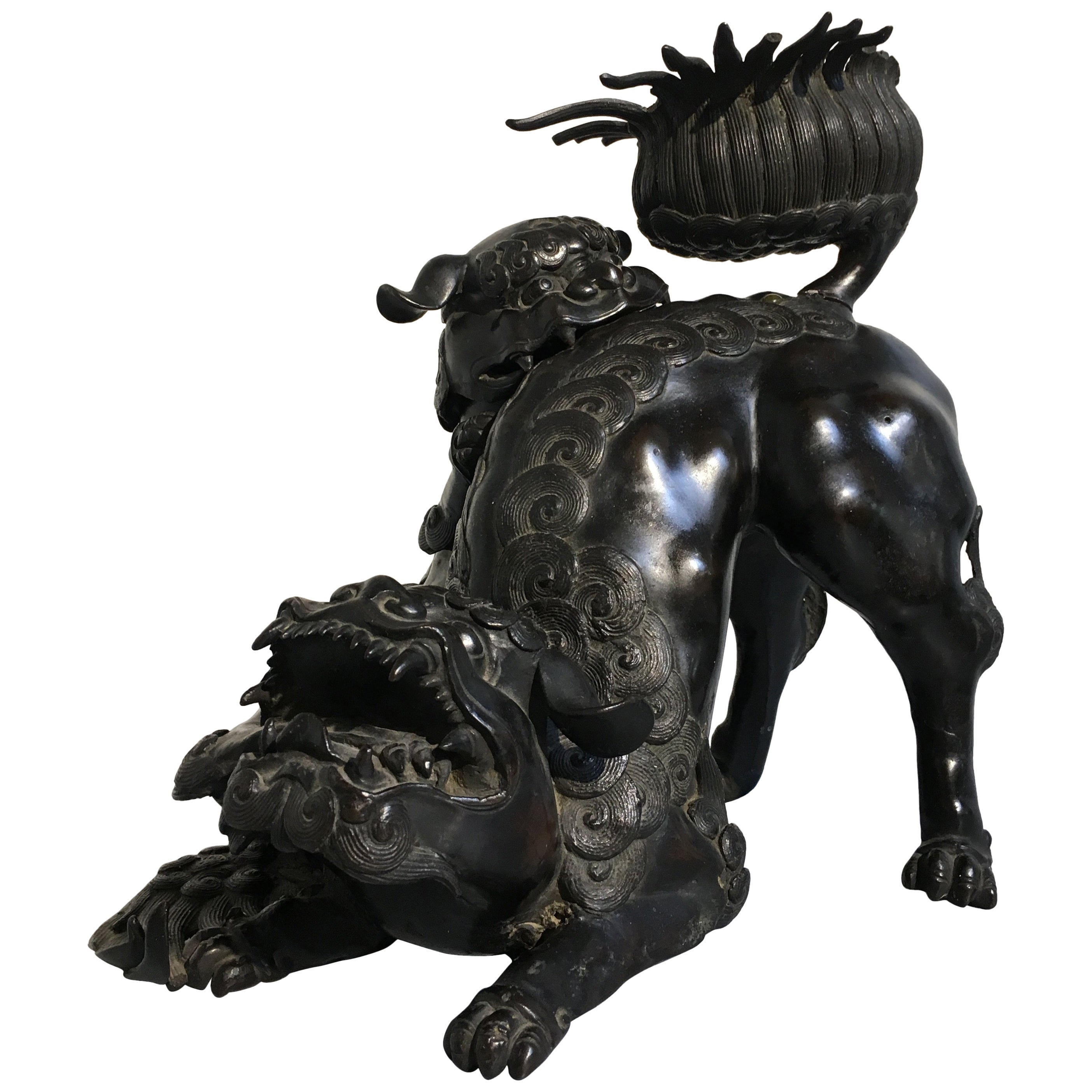 Large Late Qing Dynasty Chinese Cast Bronze Buddhistic Foo Lion Censer