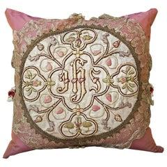 Antique IHS Medallion Custom Pillow by Eleganza Italiana