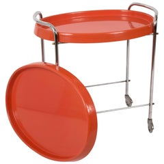 Bar Cart Oval in Orange Plastic and Metal Chrome, Italy, 1950s
