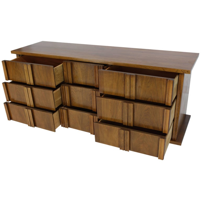 Nine Drawers Sculptural Solid Walnut Pulls Handles Long Dresser Credenza