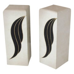 Pair of Tessellated Black and Beige Stone or Tile Brass Inlay Pedestals